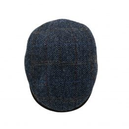"""The William"" Harris tweed flatcap city sport petroleum blauw side shot"