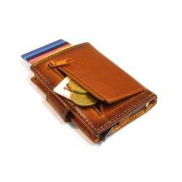portefeuille en kaartbeschermer cognac burn munt