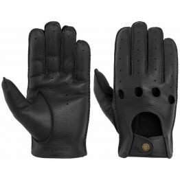 Leather driver gloves with fingers black