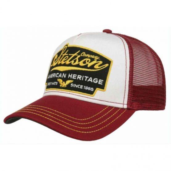truckercap rood en wit van Stetson
