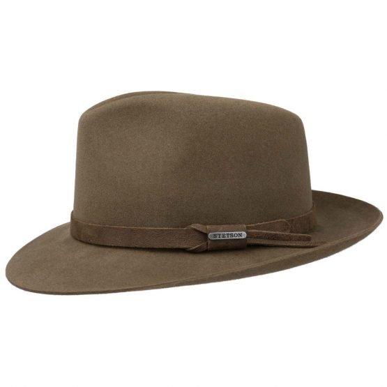 hoed in 100% haarvilt van stetson bruin brim down