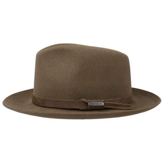 hoed in 100% haarvilt van stetson bruin brim up