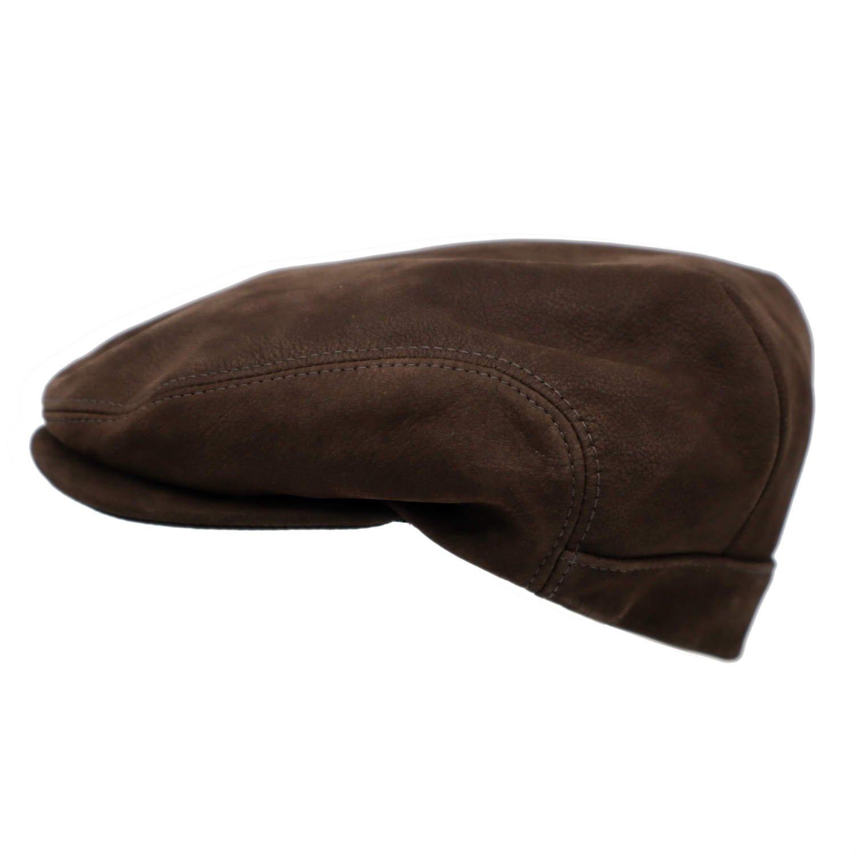 flat cap in leder derby sport bruin