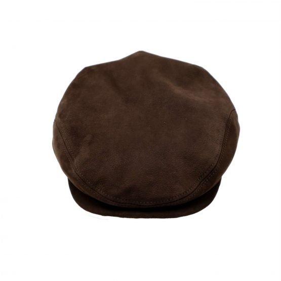 flat cap in leder derby sport bruin voorkant